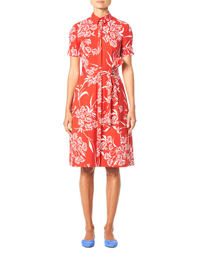 Short-Sleeve Button-Front Floral-Print Shirtdress