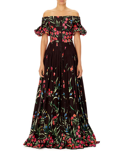 Off-the-Shoulder Button-Front Floral-Print Pleated Evening Gown