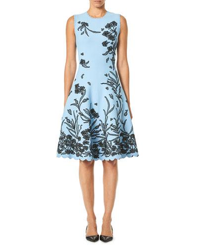 Sleeveless A-Line Floral-Jacquard Knee-Length Dress