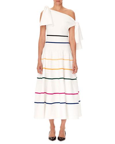 Off-the-Shoulder Striped-Knit A-Line Midi Dress