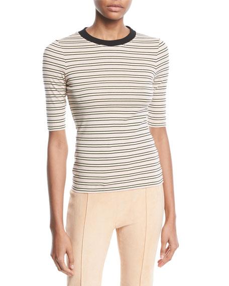 Rosetta Getty Crewneck Short-Sleeve Striped Cotton-Jersey Cropped