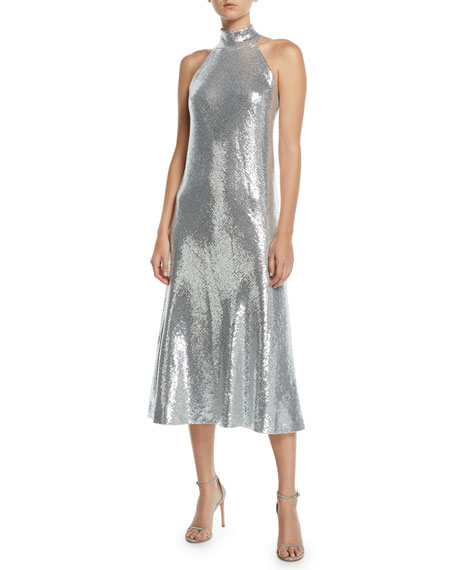 Galvan Daniela Halter Scarf-Neck Sequined Midi Dress