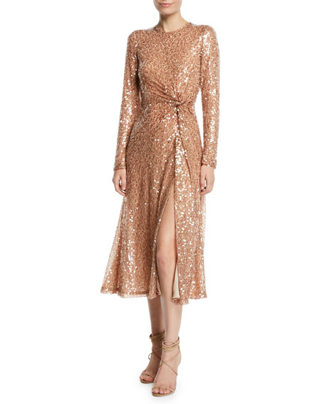 Galvan Pinwheel Sequined Twist-Front Dress