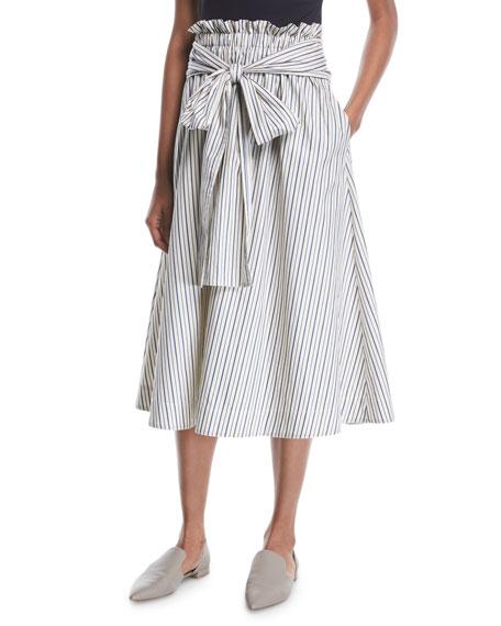 Rosetta Getty Wrap-Panel Striped Poplin Flared Midi Skirt