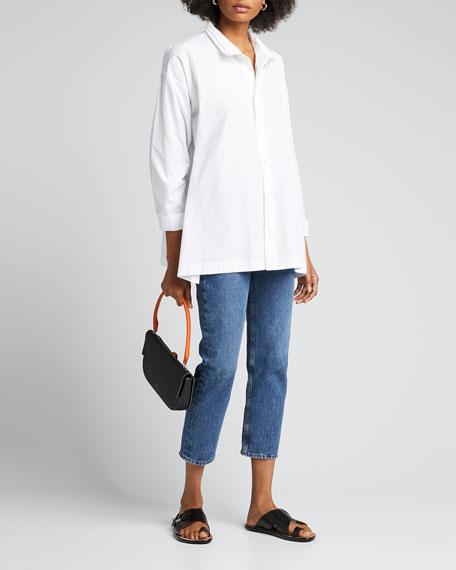 ESKANDAR Two-Collar Button-Front Cotton Blouse in White