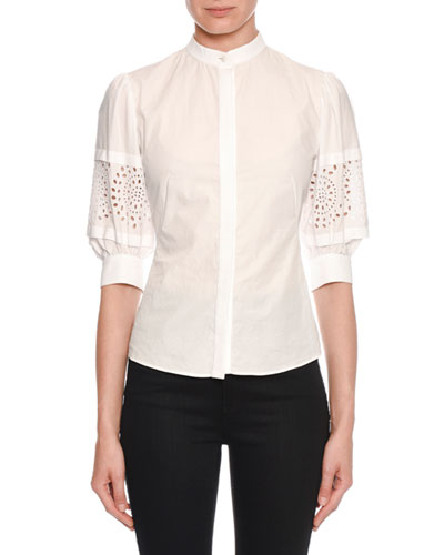 Lace-Sleeve Button-Front Blouse