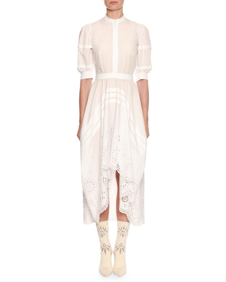Alexander McQueen Puff Short-Sleeve Broderie Anglaise Cotton Midi