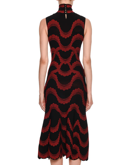 Turtleneck Sleeveless Victorian Beaded-Jacquard Body-Con Midi Dress