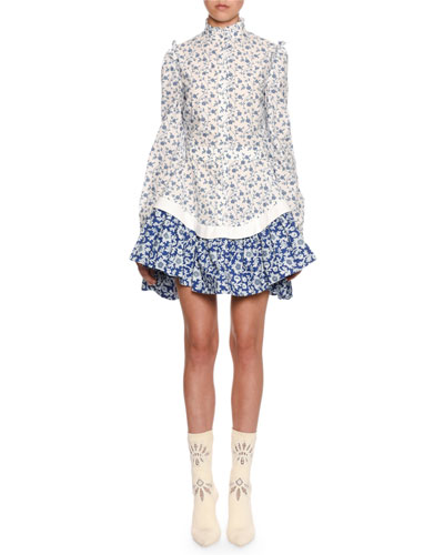 Victorian Floral Cotton Peplum Mini Dress