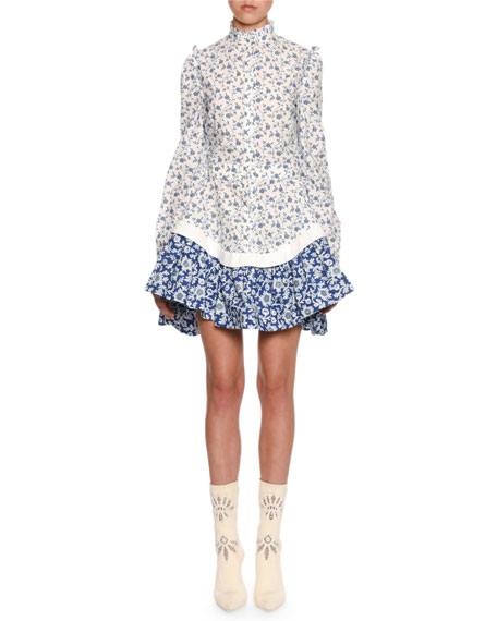 Alexander McQueen Victorian Floral Cotton Peplum Mini Dress