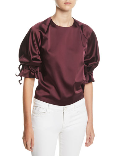 Ruched Drawstring-Sleeve Crewneck Duchess Top