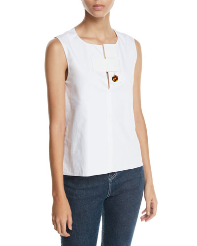 Tab-Neck Sleeveless Cotton Poplin Top