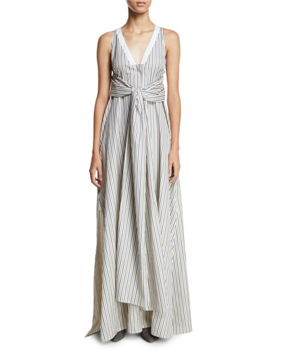 V-Neck Sleeveless Wrap-Panel Striped Poplin Long Dress