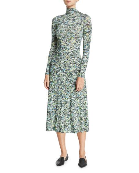 Turtleneck Long-Sleeve Foam-Print Jersey Long Dress
