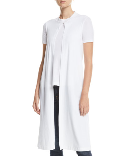 Split-Front Short-Sleeve Cotton Rib Jersey T-Shirt