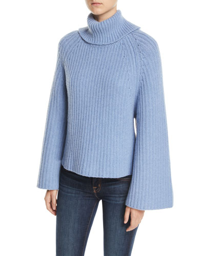 Cropped-Back Turtleneck Cashmere-Wool Sweater