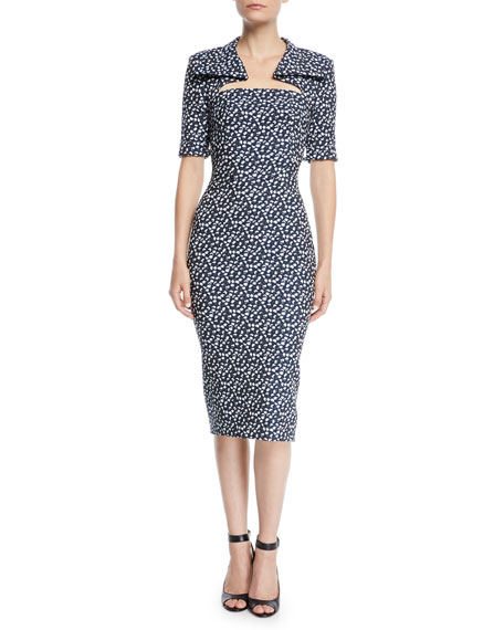 Image 1 of 1: Cutout-Neckline Elbow-Sleeve Floral-Print Midi Sheath Dress