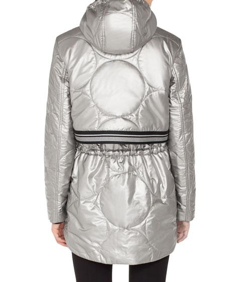 Metallic Circle-Quilted Puffer Coat