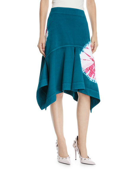 Calvin Klein Denims High-Waist Denim Sand Dollar Fit/Flare Skirt, GREEN/PINK