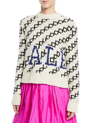 Yale Intarsia Crewneck Pullover Sweater
