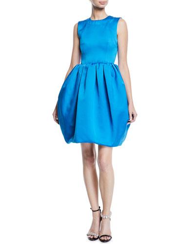 Sleeveless Crewneck Bubble-Skirt Cocktail Dress