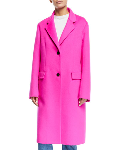 Single-Breasted Two-Button Angora Wool Knee-Length Coat