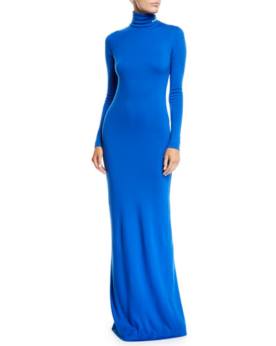 Turtleneck Long-Sleeve Body-Con Wool-Jersey Evening Gown