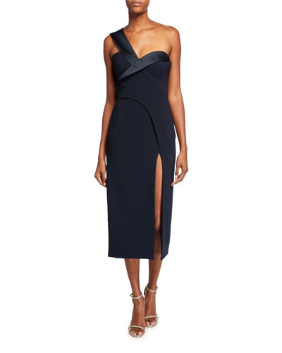 One-Shoulder Satin-Trim Cocktail Dress