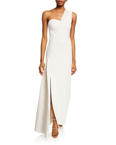 One-Shoulder High Slit Gown