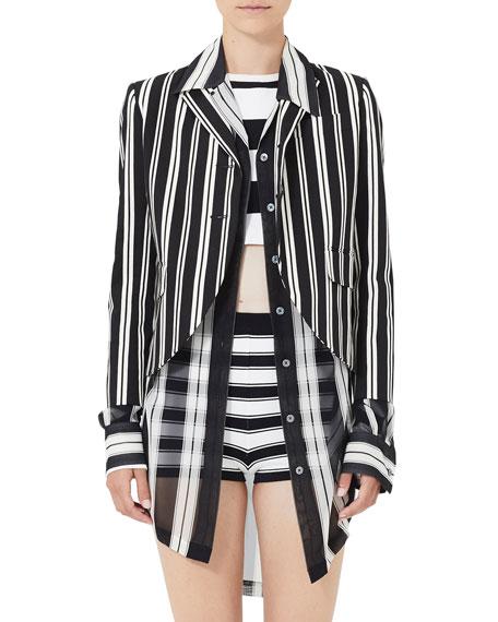 Marc Jacobs Striped 3/4-Sleeve Boyfriend Jacket