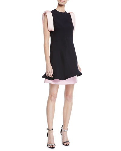 Bow-Shoulder Fluted-Hem Layered Viscose Cady Dress