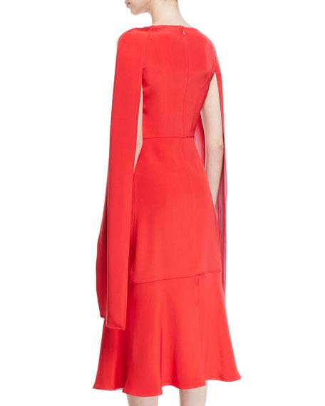 b808aa1b76 CALVIN KLEIN 205W39NYC Cape-Sleeve High-Neck Slim Silk-Cady Midi Dress