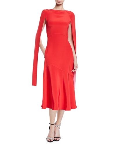 Cape-Sleeve High-Neck Slim Silk-Cady Midi Dress