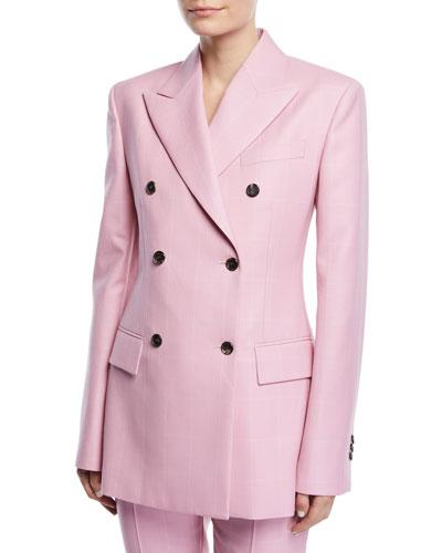 Double-Breasted Herringbone-Check Long Wool Blazer