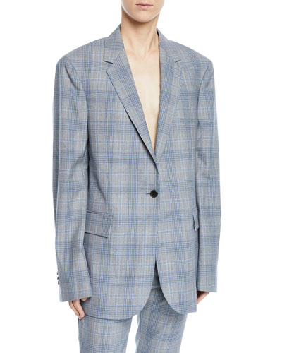Glen Plaid Check One-Button Oversized Wool Blazer