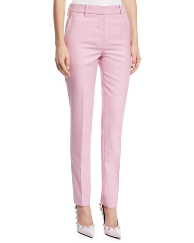 Straight-Leg Herringbone Check Wool Pants