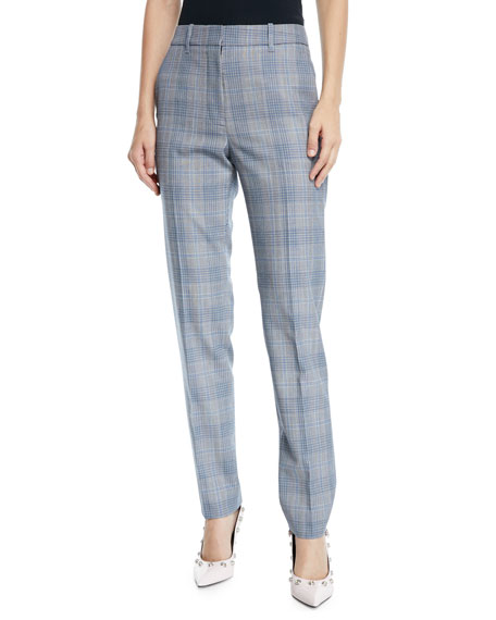 CALVIN KLEIN 205W39NYC Glen-Plaid Wool Skinny-Leg Ankle Pants