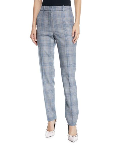 Glen-Plaid Wool Skinny-Leg Ankle Pants