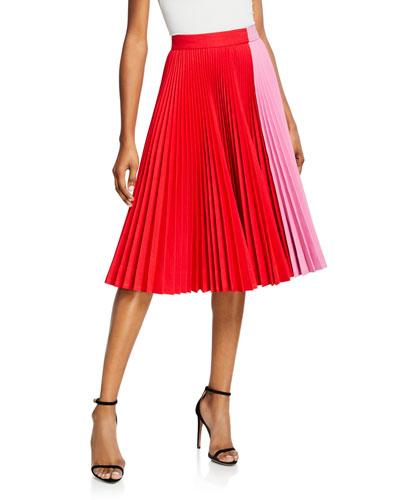 High-Waist Pleated Flare Skirt