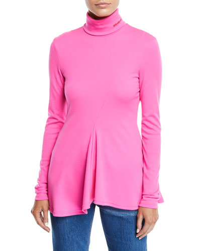 Turtleneck Long-Sleeve Peplum Wool-Jersey Top