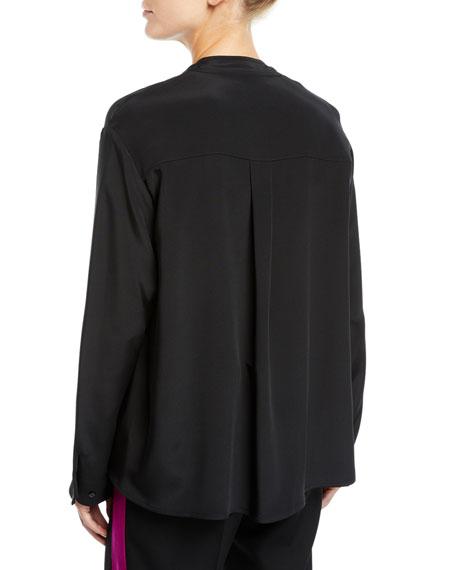 V-Neck Satin Drape-Front Silk Cady Blouse