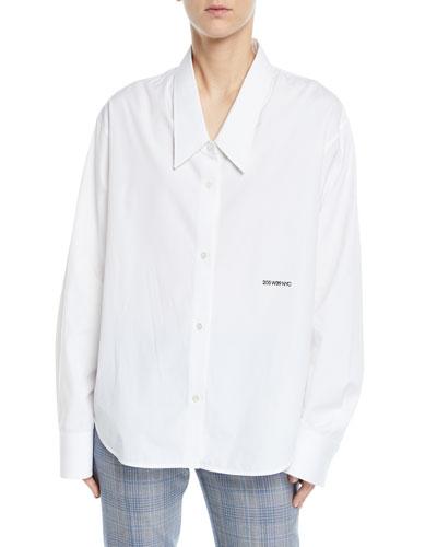 Button-Front Long-Sleeve Boyfriend-Fit Poplin Shirt