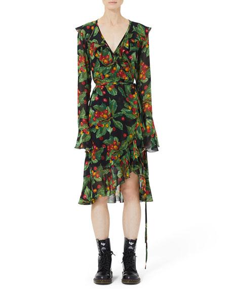 Marc Jacobs Bell-Sleeve Ruffled Cherry-Print Wrap Dress