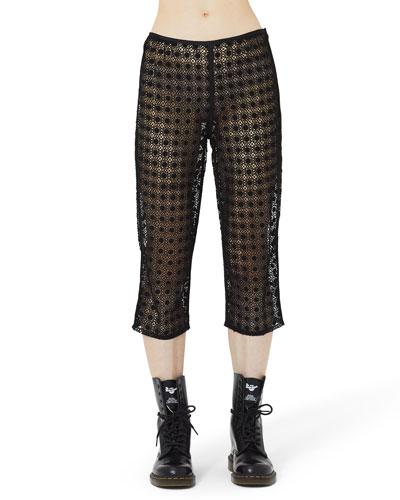 Square-Lace Illusion Crop Pants