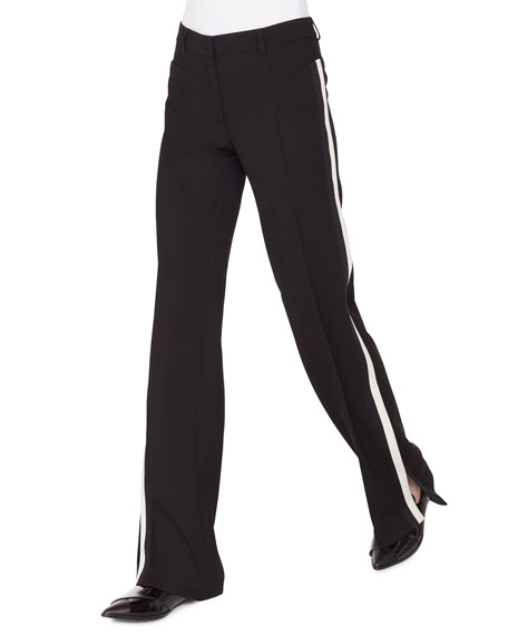Akris punto Mikka Wide-Leg Wool Tricot Pants W/Contrast