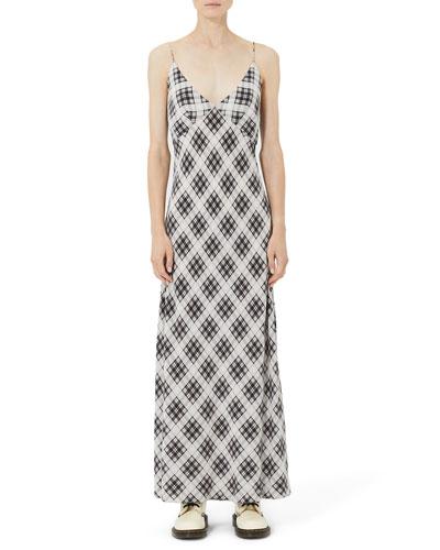 Plaid Washed-Silk Cami Dress