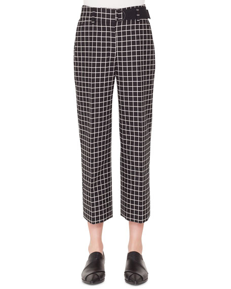 Akris punto Ford Grid-Jacquard Cotton Cropped Tube Pants