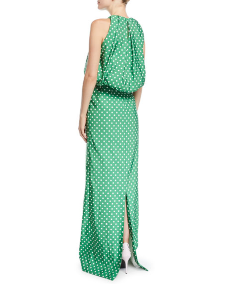 Sleeveless Bubble-Top A-Line Polka-Dot Evening Gown