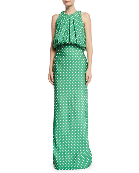 Image 1 of 1: Sleeveless Bubble-Top A-Line Polka-Dot Evening Gown