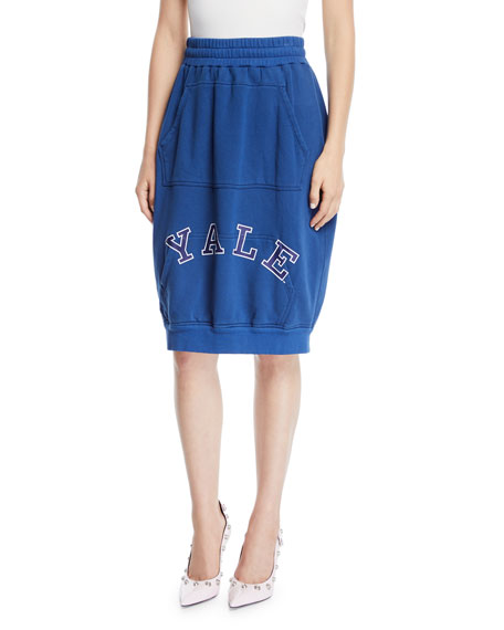 CALVIN KLEIN 205W39NYC Yale-Logo High-Waist Cotton Terry Bubble